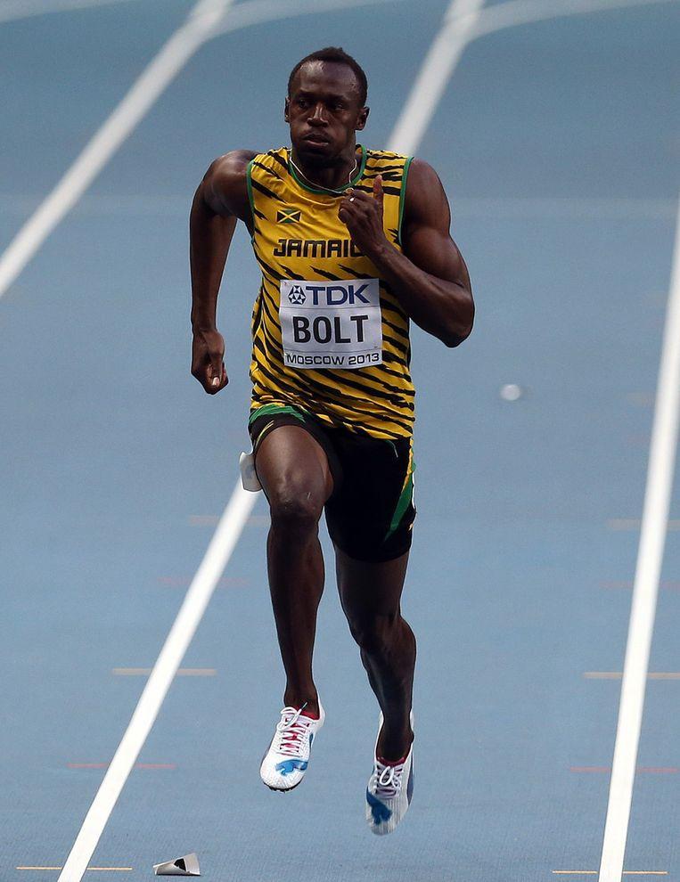 Bolt tijdens de series van de 100 meter van het WK Atletiek in Moskou. Beeld getty