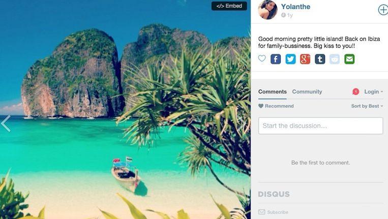 Yolanthe plaatste vorig jaar een foto op Instagram met de tekst 'Terug op Ibiza', terwijl het een Thais strand bleek te zijn. Het zorgde voor de nodige grappen op Twitter. Beeld Instagram