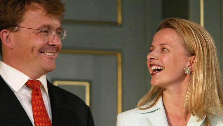 Prins Friso en prinses Mabel tijdens de aankondiging van hun huwelijk in juni 2003. Beeld anp