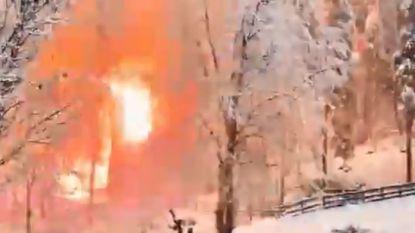 Spectaculaire beelden nadat elektriciteitsleiding in winters bos beschadigd raakt