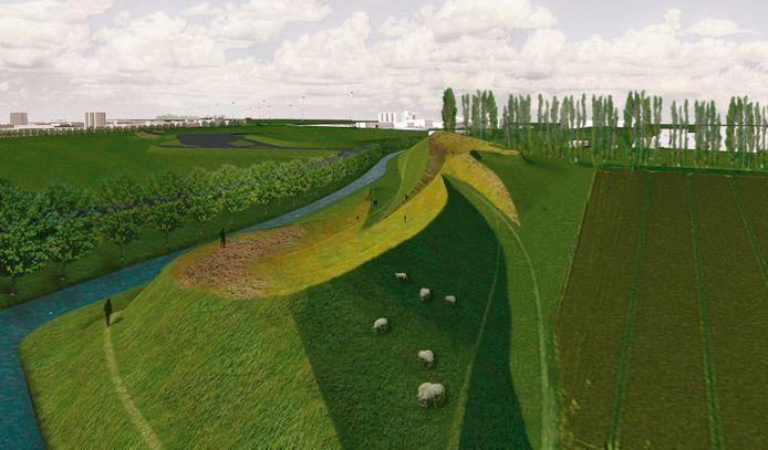 Artist Impression van hoe het gebied tussen AFC en Stampersgat er ooit uit zou komen te zien. De landart moest een uitkijkpunt worden van 15 meter hoog met veel groen en een wandelpad eromheen.