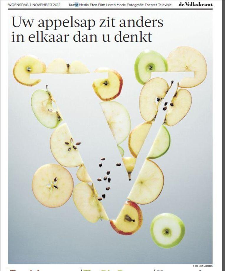 Een van de winnende krantenpagina's Beeld de Volkskrant.