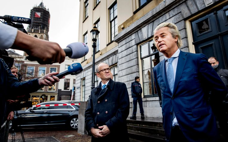 Geert Wilders samen met Henk Deún in Utrecht. Beeld ANP