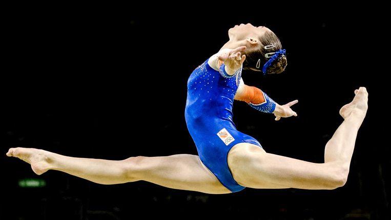 Turnster Eythora Thorsdottir tijdens de finale meerkamp turnen op de Olympische Spelen van Rio. Beeld anp