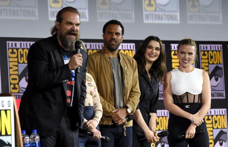 David Harbour, O. T. Fagbenle, Rachel Weisz en Scarlett Johansson.