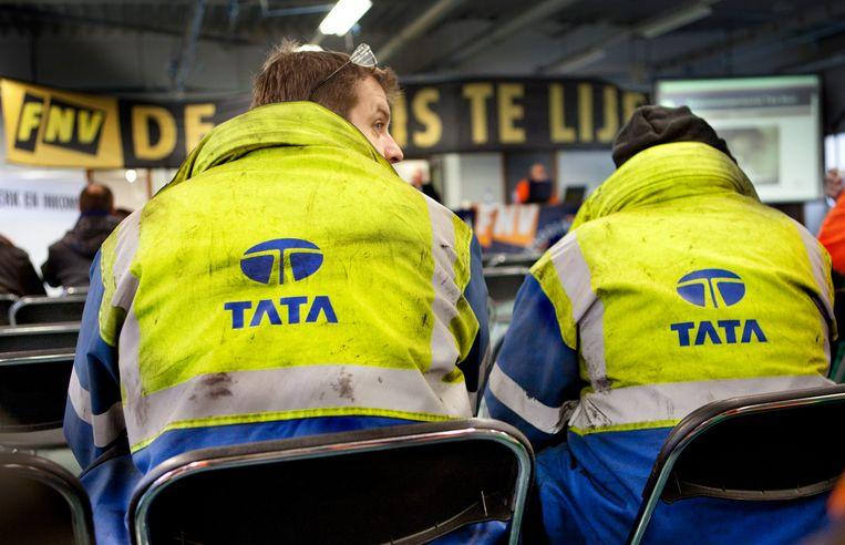 In 2013 waren er ook al acties bij Tata Steel, zo'n vijfhonderd staalarbeiders kwamen bijeen om een reorganisatie bij het staalbedrijf te stoppen.  Beeld Maarten Hartman