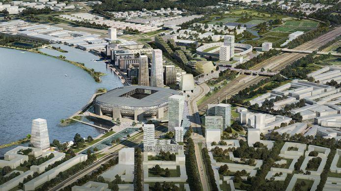 Het plan voor het nieuwe stadion met duizenden nieuwbouwwoningen er omheen.