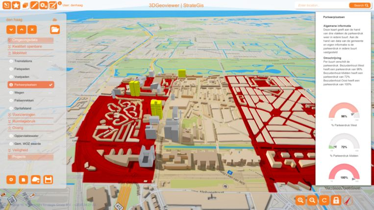 3D-impressie van Bezuidenhout. Het rood laat zien waar de parkeerdruk het hoogst is. Geel is geplande nieuwbouw. Beeld StrateGis