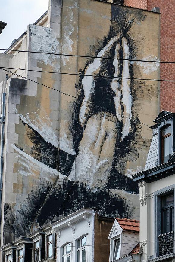 De muurschildering zal wel niet snel vergeten worden in de Visverkopersstraat.