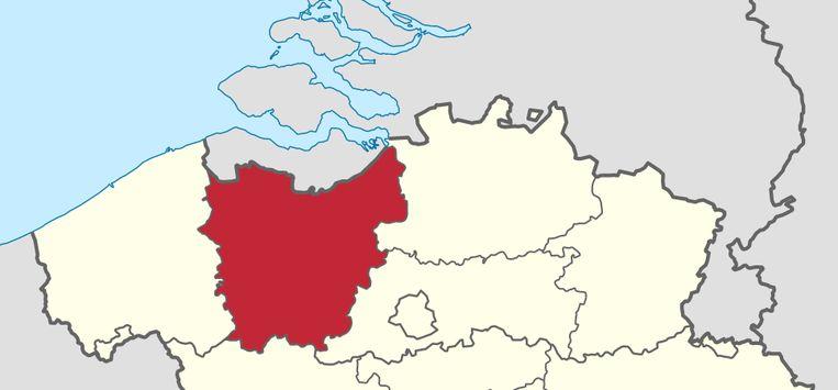 De provinciegrenzen van Oost-Vlaanderen.