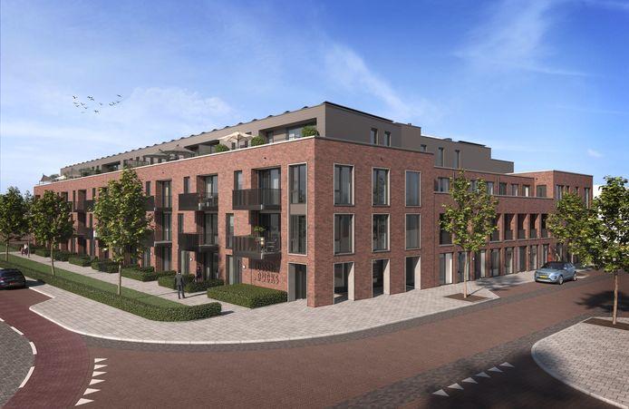 Artist impression van het appartementencomplex dat op het terrein van de oude Boerenbond op de hoek Haverdijk/Valdijk moet komen. Het gaat om veertig appartementen, zowel koop als huur.