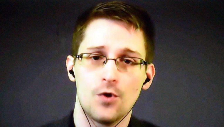 Snowden tijdens een videoconferentie in november 2014. Beeld epa