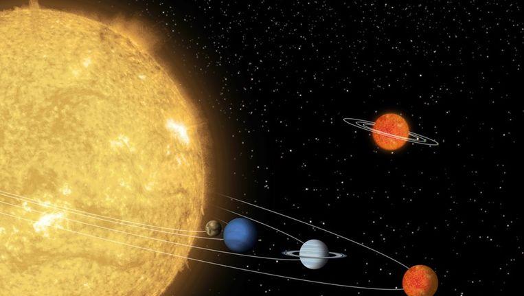 Het sterrenstelsel 55 Cancri, waarbij 55 Cancri e heel dicht bij de moederster ligt Beeld NASA/JPL-Caltech