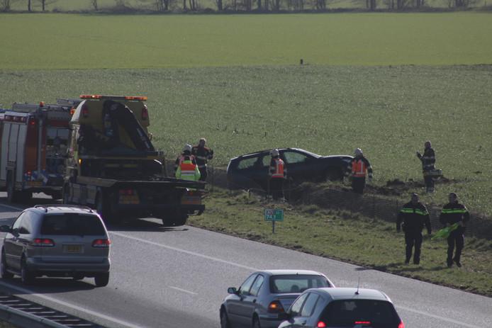 De situatie op de A73 na het ongeval.