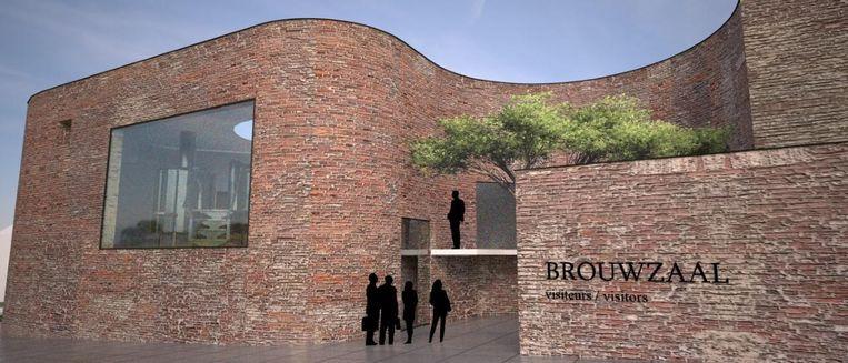 Zo zal de nieuwe brouwzaal er straks uitzien: in klassieke rood-bruine bakstenen, zodat het past in de dorpskern van Bellegem, en veel groen.