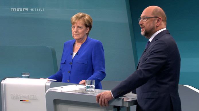 Het eerste en enige televisiedebat tussen Angela Merkel en haar rivaal Martin Schulz leverde weinig vuurwerk op.