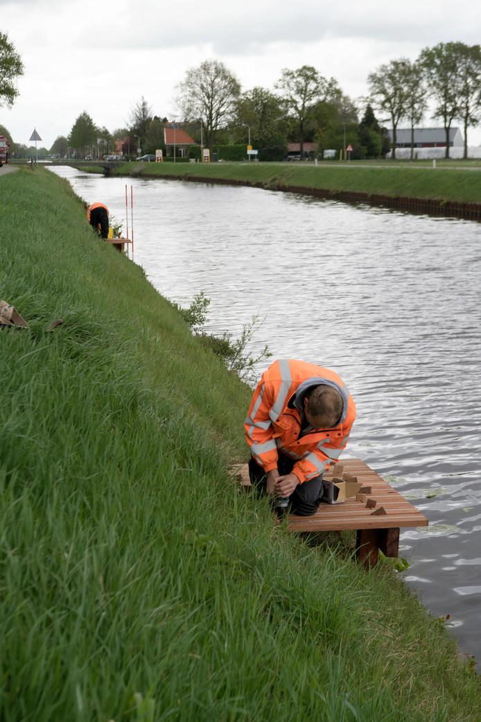 In het Ommerkanaal tussen Dedemsvaart en Ommen worden momenteel dertig vissteigers aangelegd.