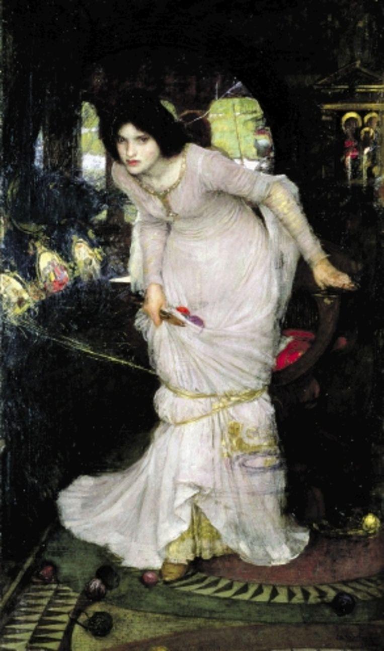 Hiernaast: J.W. Waterhouse, ¿The lady of Shalott¿, 1894, olie op doek.Helemaal rechts: J.W. Waterhouse, ¿Saint Cecilia¿, 1895, olie op doek. ( LEEDS MUSEUM AND GALLERIES (CITY ART GALLERY) ) Beeld