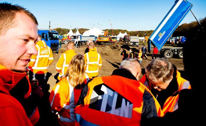 In oktober vorig jaar protesteerden de bouwers al op het Malieveld in Den Haag.