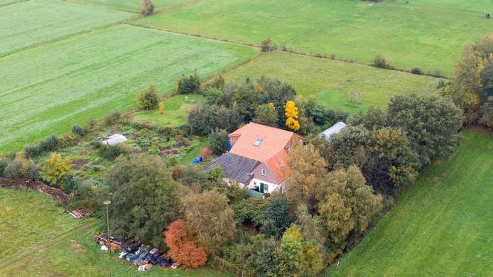 Vue aérienne de la ferme.