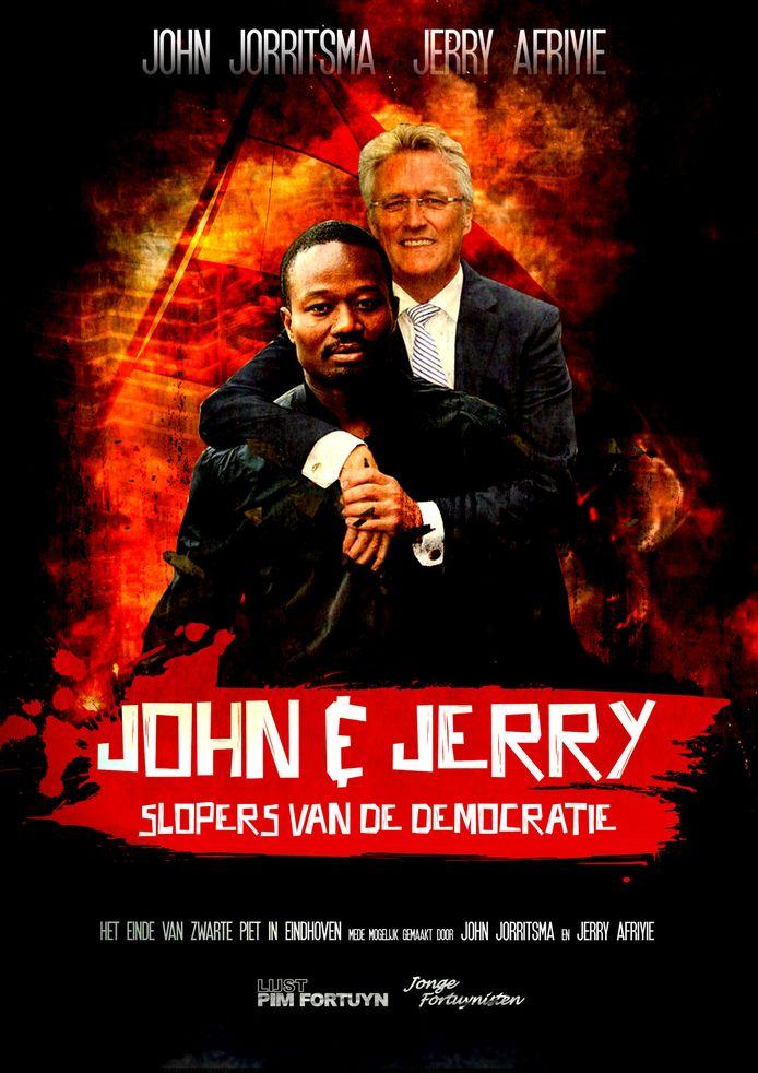 De LPF Eindhoven heeft op zijn website een fotomontage geplaatst met daarop burgemeester John Jorritsma en Jerry Afryie, voorman van Kick Out Zwarte Piet