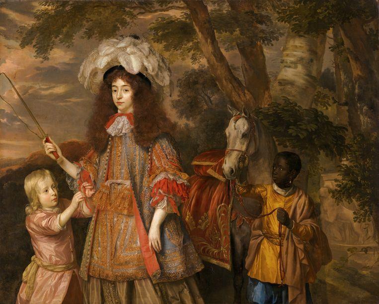 Portret van Maria van Oranje (1642-1688), met Hendrik van Nassau-Zuylestein (overleden in 1673) en een bediende, c. 1665 door Jan Mijtens. Beeld Beeld Margareta Svensson / Collectie Mauritshuis Den Haag Collectie Mauritshuis Den Haag