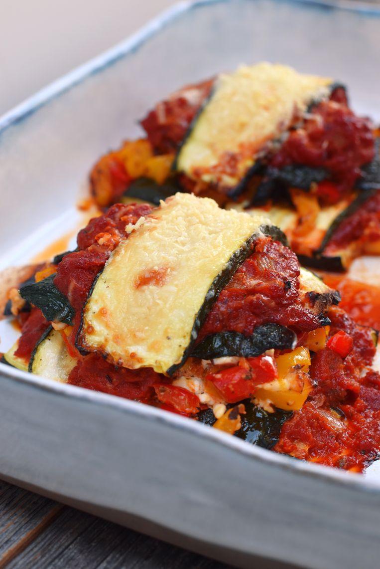 Lasagne van courgette met paprika en feta