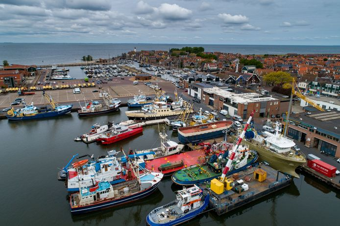 De haven van Urk, met meer kotters dan gebruikelijk aan wal.