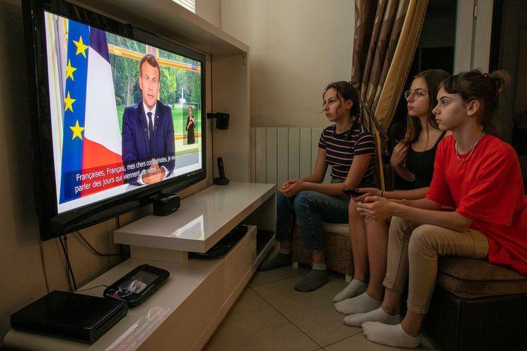 De Fransen hoorden Marcon ook voor het eerst spreken over de recente mondiale golf van antiracistische protesten. Beeld Getty Images