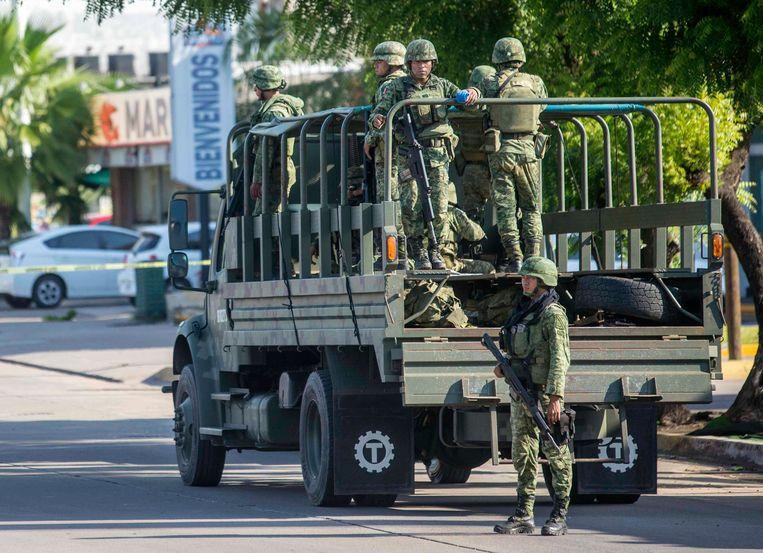 Militairen in de straten van Culiacán. Beeld AP