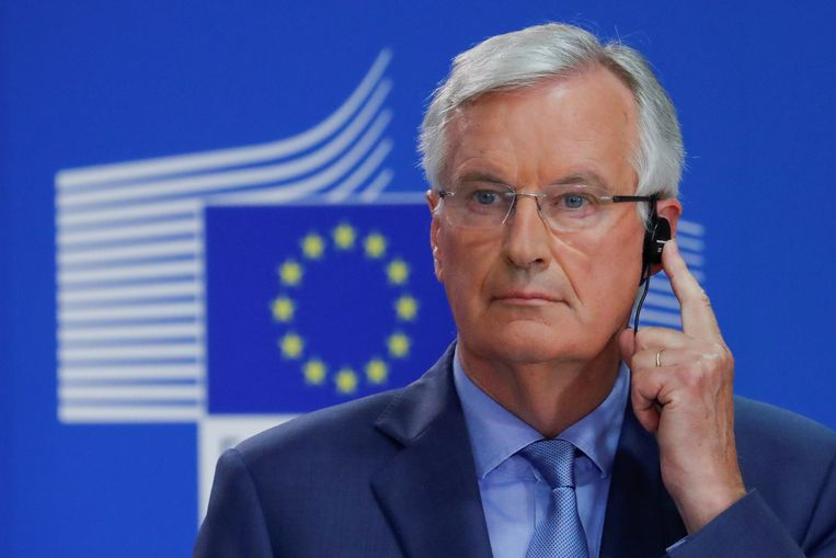 EU-onderhandelaar Michel Barnier heeft al laten weten weinig te zien in Mays plan om de grens open te houden en toch uit de douane-unie te stappen. Beeld REUTERS