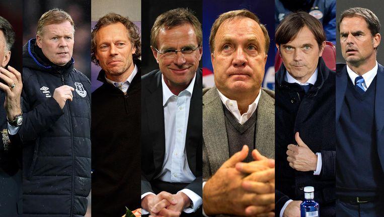 V.l.n.r.: Louis van Gaal, Ronald Koeman, Michel Preud'homme, Ralf Rangnick, Dick Advocaat, Phillip Cocu, Frank de Boer. Beeld AFP, ANP, AP, Reuters