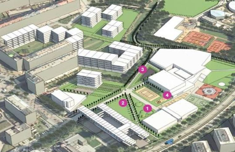 Een mogelijke invulling van de toekomstige zwembadsite. 1 en 2 zijn de nieuwe sportvelden, 3 is het zwembad en 4 de sportzaal.