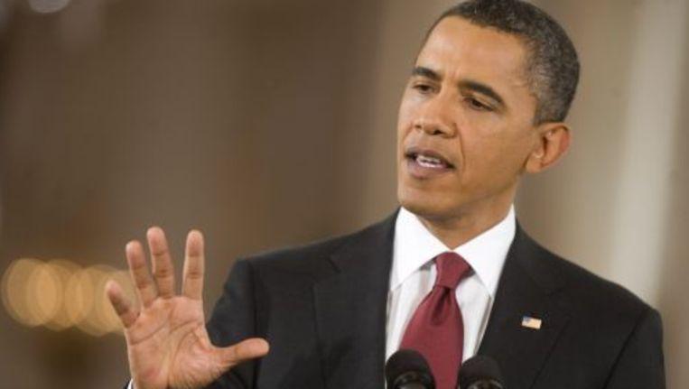 President Obama woensdag tijdens een persconferentie. Beeld