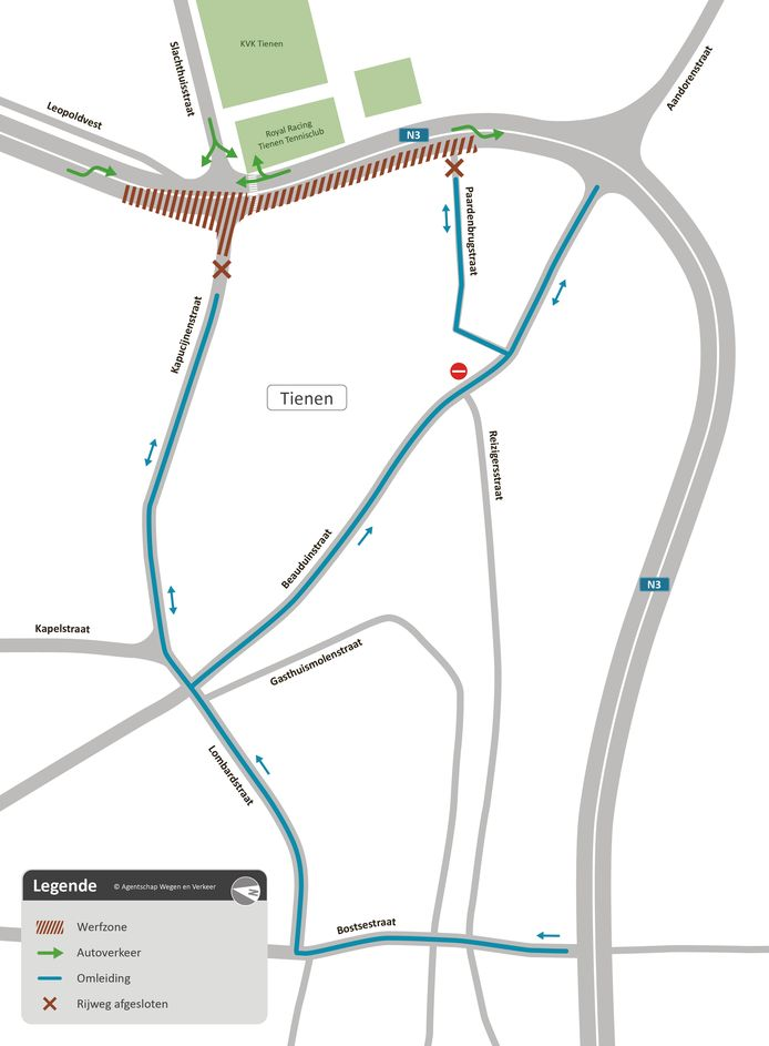 De situatie op kaart voor de komende fase van de werken aan de Vesten