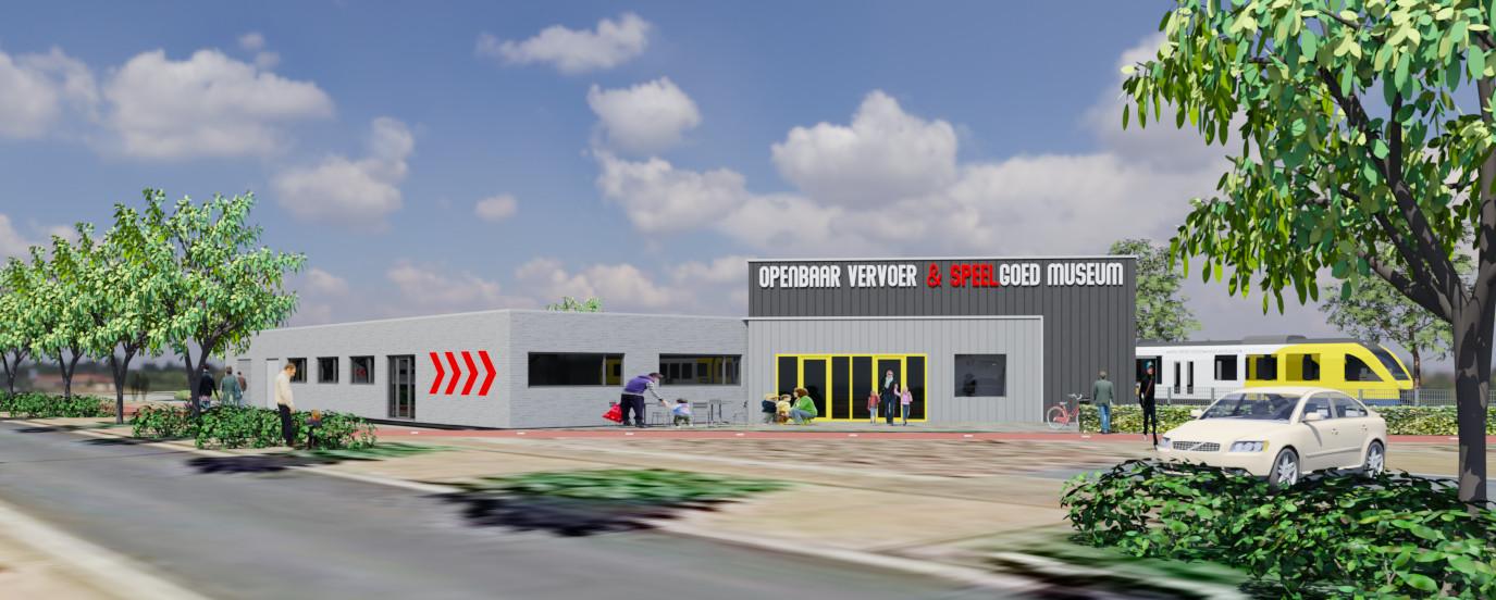 De geplande nieuwe voorgevel van het Openbaar Vervoer & Speelgoedmuseum in Doetinchem.