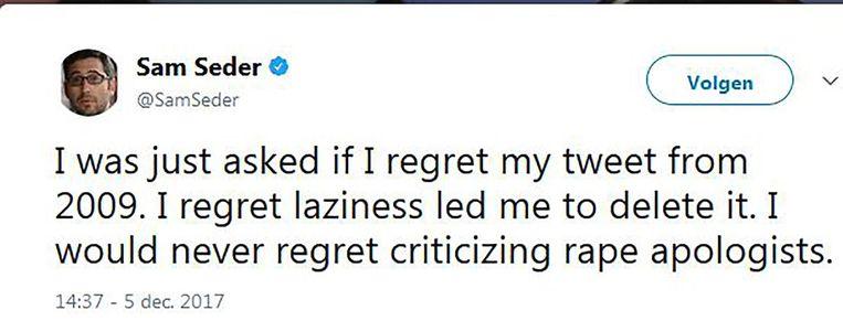 De Tweet van Sam Seder die voor nogal wat ophef zorgde. Beeld Twitter