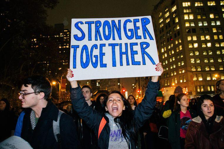 Protest in New York tegen de verkiezing van Donald Trump, begin november vorig jaar  Beeld EPA