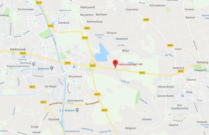 De locatie van het ernstige ongeluk in Helmond.