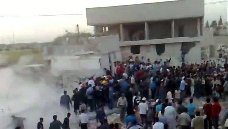 Beeld uit een filmpje van de Syrische oppositie Beeld afp