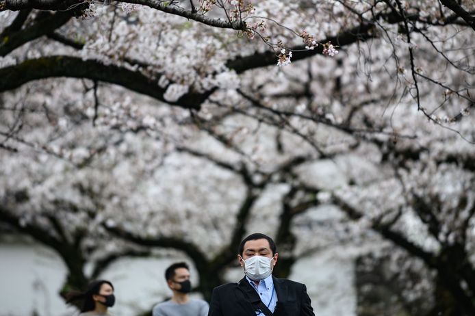 Gemaskerde bezoekers lopen door Kitanomaru Park in Tokio.