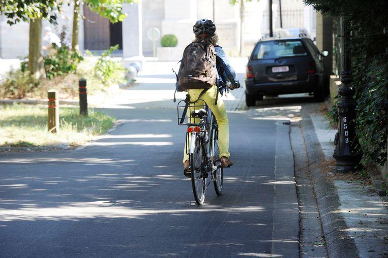 Een fietsende scholier.