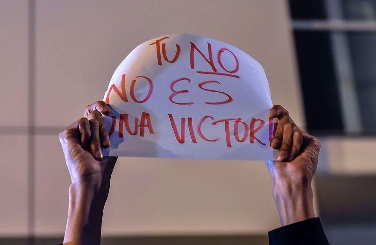 'Jouw Nee is geen overwinning', staat op dit bord. Beeld AFP