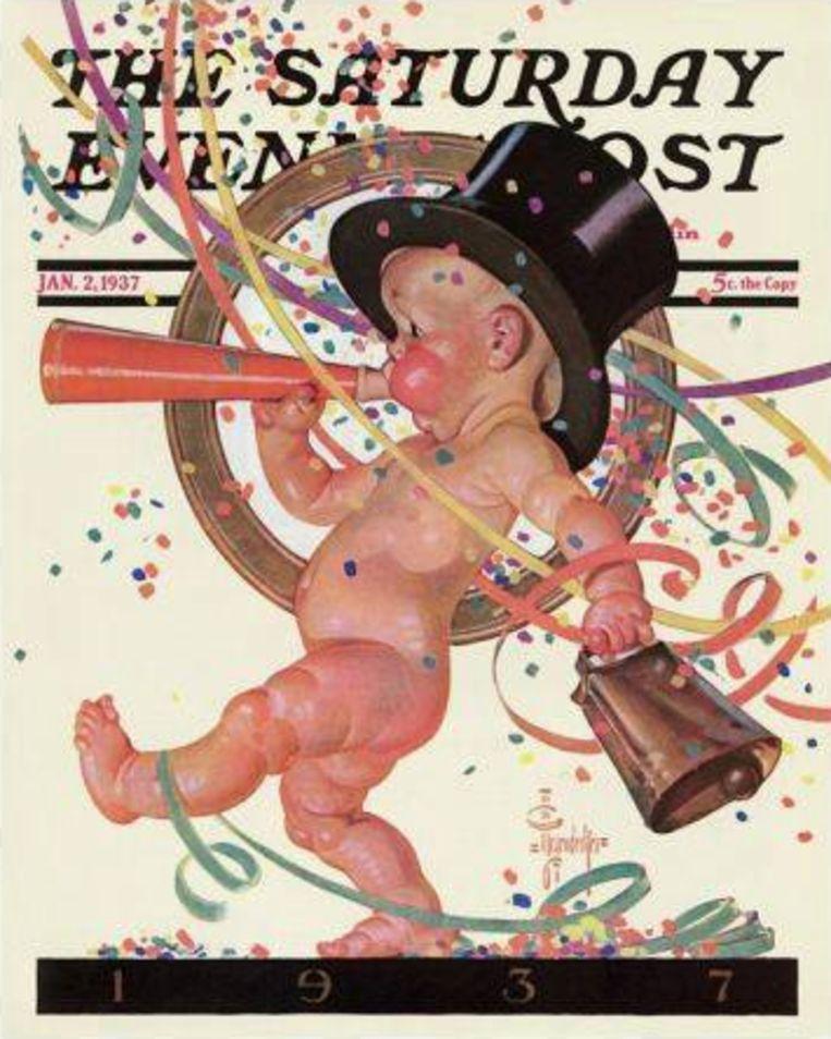 Baby New Year Celebrates van Leyendecker.