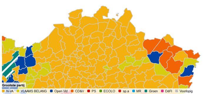 De kaart van de Kempen voor de federale verkiezingen: N-VA is overal de grootste partij, behalve in Hulshout, Laakdal en Meerhout.