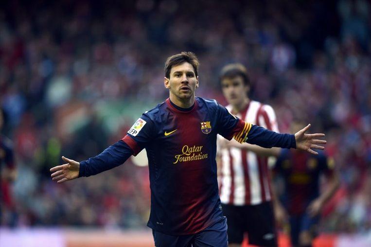 Lionel Messi viert zijn goal tegen Bilbao, Beeld reuters