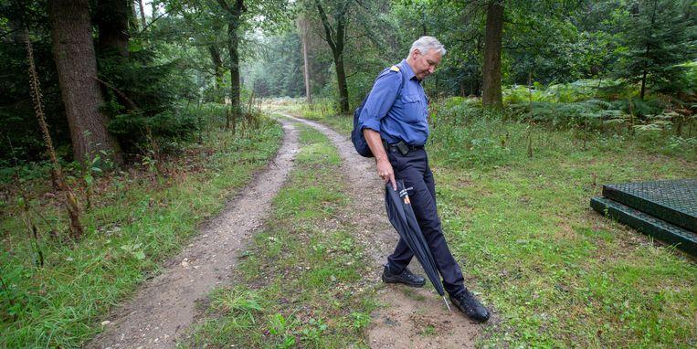 In het Bergherbos vertelt Klaas Noorman op de Pieterpadroute over aanpassingen in het bos vanwege de droogte. Hier zoekt hij een brandkraan.  Beeld Herman Engbers
