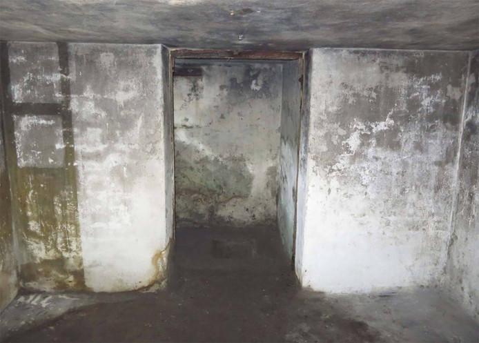 Het interieur van de pas ontdekte bunker