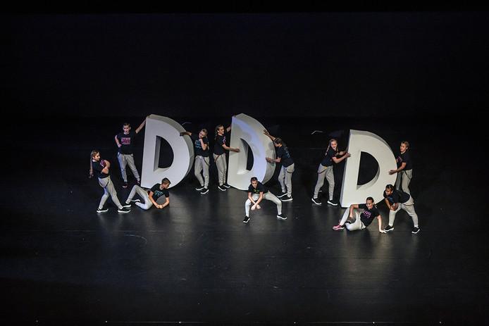 Dansgroep van de Leeuwenkuil aan het slot van hun dansuitvoering