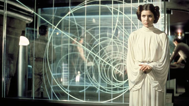 Carrie Fisher als prinses Leia in 1977
